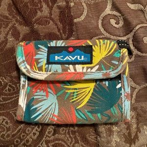 KAVU, pink, yellow, and blue ID carrier